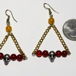 Shiva68 Jewelry - Swinging Skull Earrings with Red Agate Stone